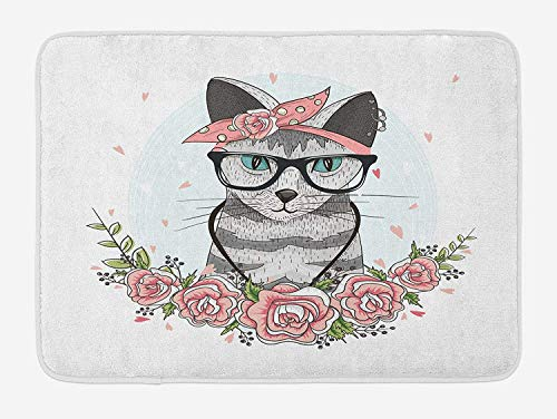 VTXWL Kitten Bath Mat, Hipster Cool Cat with Spectacles Scarf Necklace Earrings and Flowers Little Hearts, Plush Bathroom Decor Mat with Non Slip Backing, 23.6 W X 15.7 W Inches, Multicolor
