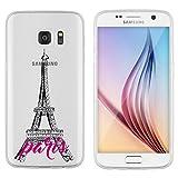 licaso® Hülle für Samsung Galaxy S7 5,1 TPU Schutz Cover Samsung S7 Eifelturm Paris Stadt der Liebe Love Case Sketch