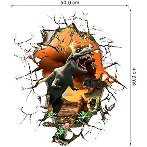 zuolanyo Ulan 3d motivo dinosauri stereoscopici Adesivi da parete bambini camera da letto parete tatuaggi soggiorno finestra vetro decorativo rimovibile adesivo da parete spazio decorazione Wall Sticker