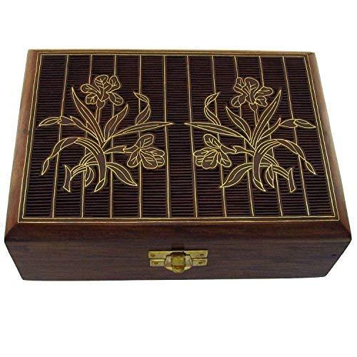 Hashcart indischen Handwerker, handgefertigt und Handarbeit Holz Jewelry Box/Jewelry Lagerung Organizer/Trinket Jewelry Box mit traditionellen Design und Messing Einlegearbeiten, Holz, braun, Style 2