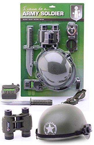 (Army Soldier Militär Kostüm-Zubehör Set mit Helm und Fernglas für Kinder Jungen Soldat Armee)