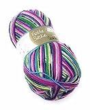 Rellana Flotte Socke 6-Fach Sockenwolle Samba, 75% Schurwolle(Superwash)/25% Polyacryl, 6 versch. Farbkombis, 150 Gramm Knäuel (7030 rosa-pink-türkis-Apfel)
