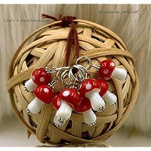 8 Maschenmarkierer Stricken Strickzubehoer Handmade Glasperlen rot weiß Anhaenger Fliegenpilze 1 Set = 8 Stueck NS:1-6