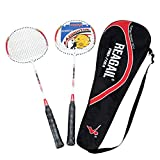 Festnight 2Pcs Training Badminton Racket Racquet with Carry Bag Sport Equipment Durable Lightweight Aluminium Alloy