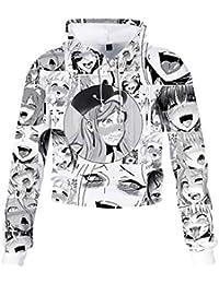 KIACIYA Sudadera Ahegao Mujer, Sudadera Ahegao Niña Ahegao Ropa Sudadera Sin Capucha Corta Adolescente Chicas Deportivo Casual Anime 3D Impresión Sudadera Cortita Streetwear Suéter