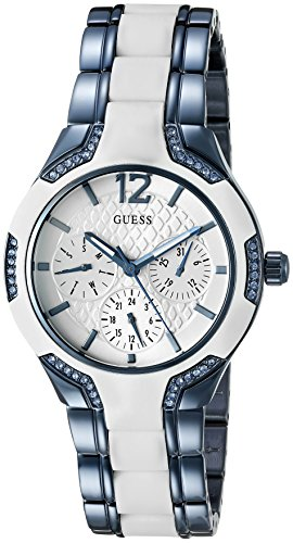 GUESS Women's U0556L9 Sporty Blue Watch with White Dial, Crystal-Accented Bezel and White Center Link Pilot Buckle