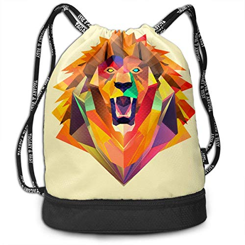 Bgejkos Unisex Lion Face Multifunctional Drawstring Gymbag Casual Outdoor Daypack