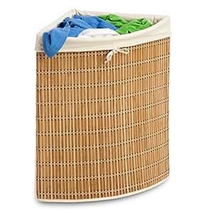 honey can do international hmp 01618 panier linge d 39 angle en bambou et osier. Black Bedroom Furniture Sets. Home Design Ideas