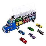 Zmoon Camión de Transporte, Transportador de Automóviles con 12 Mini Coches de Metal Coloridos para Niños y Niñas