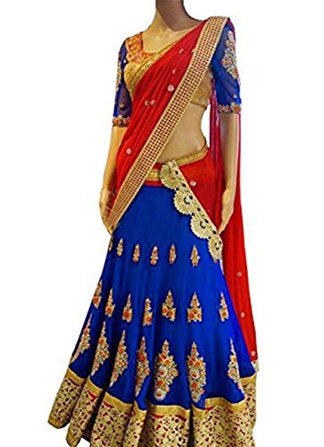 Colour Trendz Georgette Lehenga Choli (X-141_Blue/Red_)
