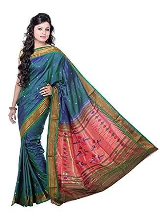 IndusDiva Blue and Green Pure Silk Paithani Saree