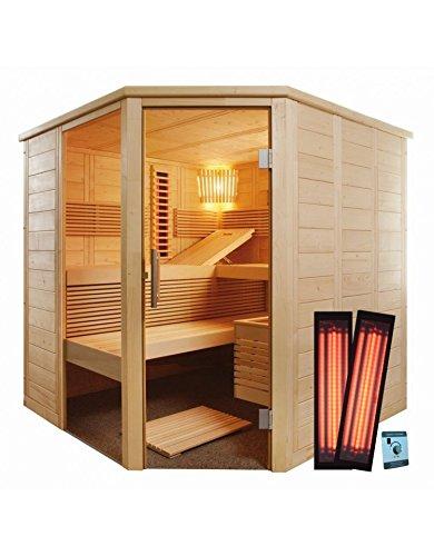 Massivholzsauna Eckeinstieg 206 x 206 x 204 Infrarot mit Saunaofen finnische Sauna