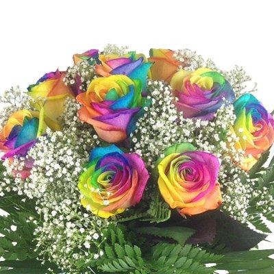 floristikvergleich.de Bunter Blumenstrauß mit 10 Regenbogenrosen – Echte bunte Rosen