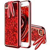 VemMore iPhone 6 Plus Hülle, iPhone 6s Plus Hülle Handyhülle Glitzer Flüssig Liquid Ultra Dünn Slim Soft TPU Case Glitter Bling Shining Silikon Clear mit Stand Function Transparent - Rot