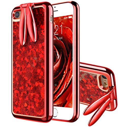 VemMore iPhone 6 Plus Hülle, iPhone 6s Plus Hülle Handyhülle Glitzer Flüssig Liquid Ultra Dünn Slim Soft TPU Case Glitter Bling Shining Silikon Clear mit Stand Function Transparent - Rot  Transparente Clear Case
