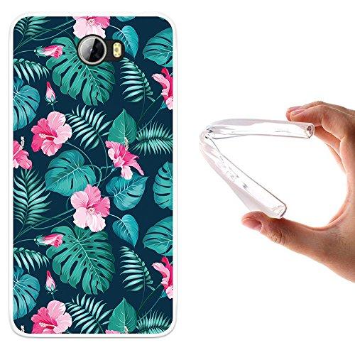 WoowCase Huawei Y6 II Compact Hülle, Handyhülle Silikon für [ Huawei Y6 II Compact ] Tropische Blumen 2 Handytasche Handy Cover Case Schutzhülle Flexible TPU - Transparent