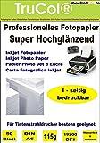 50 Blatt DIN A5 Glossy glänzendes Fotopapier 115g /m²; Gussgestrichenes, hochweißes und glänzendes Papier für hochqualitative Farbausdrucke. Das Fotopapier ist perfekt geeignet für fotorealistische und digitale Ausdrucke mit brillianter Farbwiedergabe