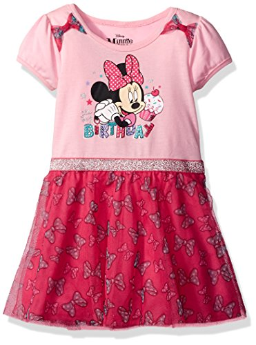 Disney Little Girls' Minnie Mouse Birthday Dress, Pink, 5 (Minnie Mouse Dress Up)