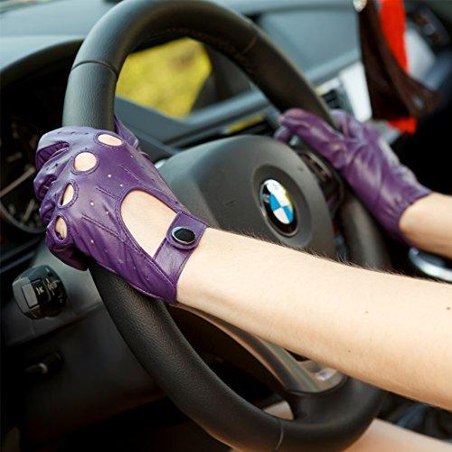 Nappaglo Gants en cuir femme pour conduire Classique Tactiles Cuir de chevreau Plein doigts Moto Gant sans doublure Violet (Non-tactile)