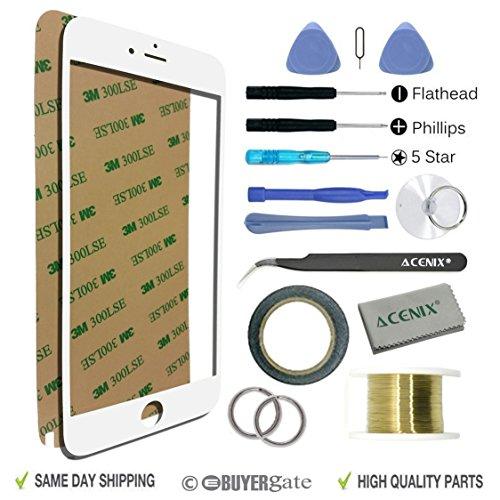 Acenix Bildschirmersatz-Reparaturset, für iPhone 6Plus/6S Plus, für zerbrochenen Bildschirm, 14cm, 17-teilig, 1x Rolle 2mm doppelseitiges Klebeband, 1x Rolle Golden Molybdän-Draht, 1x Pinzette, 1x hochwertiges Reinigungstuch, 1x Saugnapf, mit benötigtem Schraubenzieher/Kunststoffwerkzeug, Weiß