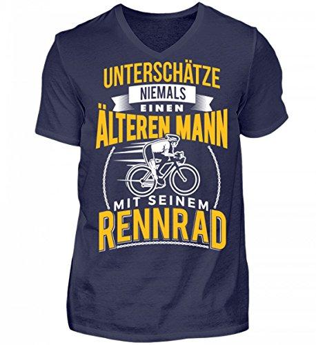 Hochwertiges Herren V-Neck Shirt - Alter Mann Rennradfahrer Fahrradfahrer Rennrad Radsport Geschenk