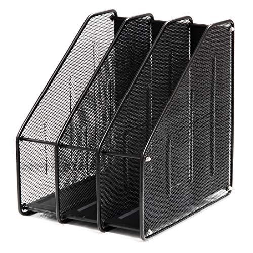 Xasclnis Scomparti Metallici Mesh 3 Sezioni Verticali Forniture per Ufficio Scaffale di stoccaggio, Post-it Memo Pad (Color : Black)