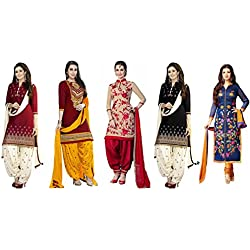 Offer Track Women's Printed Unstitched Regular Wear Salwar Suit Dress Material (Combo pack of 5)(OT_Combo_Offers_7098)(OT_Dresses_3002_Red)(OT_Dresses_3059_Red)(OT_Dresses_3055_Black)(OT_Dresses_3056_Nevy Blue)(OT_Dresses_3054_Blue)