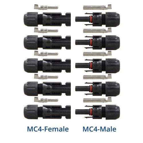 Renogy MC4 Stecker/Buchse Solarpanel Kabel Stecker Doppeldichtung Ringe für bessere wasserdichte Wirkung 5-Paar Five Pairs schwarz