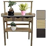 proheim Pflanztisch mit Schubladen 34 x 78 x 112 cm FSC® zertifiziertes Holz wetterfester Gartentisch imprägniert verzinkte Arbeitsfläche, Farbe:Weiß