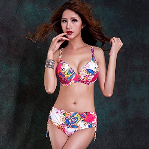 Buluke Frauen Fashin Vintage floralen Drucken Bikini 2-tlg. Red
