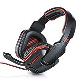 CSL - Stormrider Gaming Headset Komfort Plus | 2X 3,5mm Klinkenstecker | Kabelfernbedienung (Volume-Control + Mikrofon Ein/aus) | Schwarz/Rot | ca. 2m Kabellänge