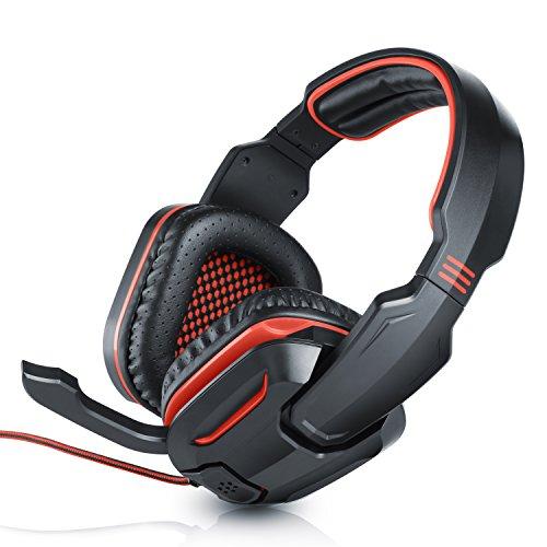 CSL - Stormrider Gaming Headset Komfort Plus   2x 3,5mm Klinkenstecker   Kabelfernbedienung (Volume-Control + Mikrofon EIN/AUS)   schwarz/rot   ca. 2m Kabellänge