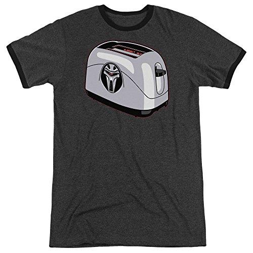 Battlestar Galactica Herren Toaster Ringer T-Shirt, XXX-Large, Charcoal