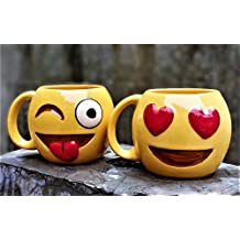 Weird Wolf Winky Face and Hearty Eyes Emoji Series Coffee Mugs - Set of 2