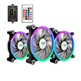 Aigo 3 de la Pack PC Enfriador,RGB LED 120 mm Silencioso Alto Aire con Ajustable Color LED Ventilador, Intel AMD CPU Enfriador Radiator Soporta DIY Mod AM4 Rrzen, con IR Mando a Distancia