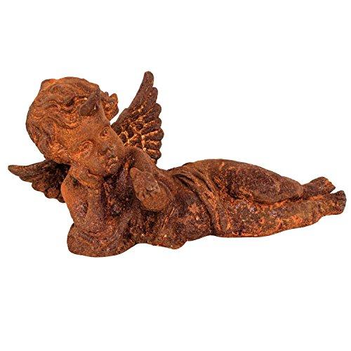 Gartenskulptur Engel liegend Eisen Garten rost Eisenfigur Skulptur Antik-Stil