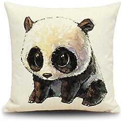Winterworm Cute Panda tema lino manta sofá coche cojín, 18x 18inch digital impreso funda de almohada de oso panda diseño de decoración para el hogar