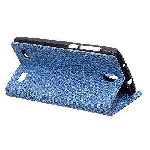 Tuch Jeans Texture Pattern Faux Ledertasche Horizontale Flip Stand Case mit Card Slots für ZTE Blade A521 ( Color : Gray ) Blue