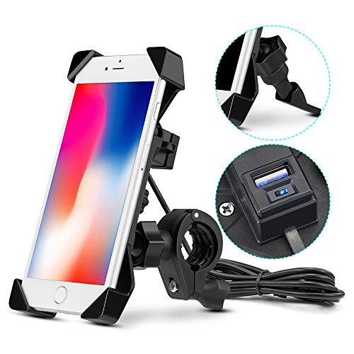 Porta Cellulare Moto, Supporto Smartphone per Moto Manubrio Universale Holder Porta di Ricarica USB per Street Bike Sport Bike Scooter Cruiser per iPhone X /Xs/ 6 / 6s - up to 4.5-6.0 Po
