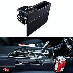 Auto Catcher,Finoki Auto Organizer Premium Leder Auto Seiten-Schlitz Taschen Aufbewahrungsbox für Handy Münzen Schlüssel Kreditkarten (Co-pilot)