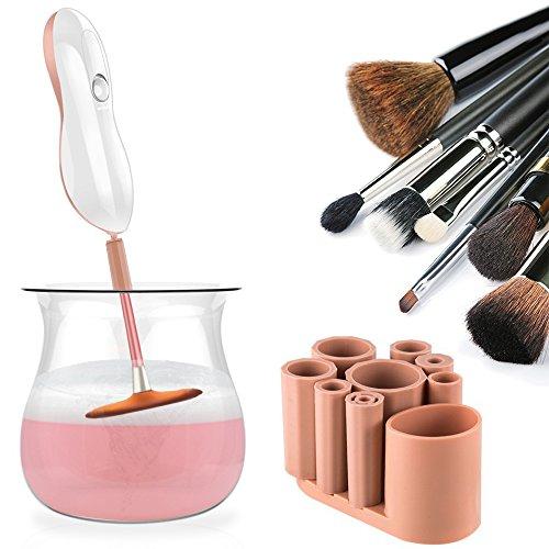 Make up Pinsel Reiniger - SUPTEMPO Elektrischer Kosmetikpinsel Reinigungsgerät und Trockner mit 8 Silikonmanschetten für schnelle Reinigung multi-size Make-up Pinsel, Rosa