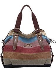 Lona coloridos rayas bolso Tote Crossbody bolsa de la mujer de gran capacidad para los cosméticos de paraguas plegable iPad