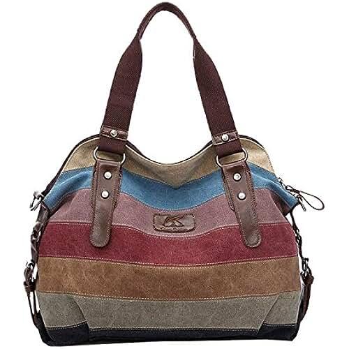 bolsos para el dia de la madre Lona coloridos rayas bolso Tote Crossbody bolsa de la mujer de gran capacidad para los cosméticos de paraguas plegable iPad