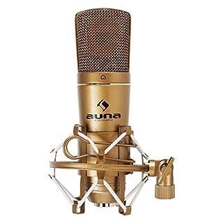 auna CM600 USB • Kondensator Mikrofon • Studio-Mikrofon • Nierencharakteristik • USB-Anschluss • Metall-Chassis • 30 Hz - 18 kHz • inklusive Mikrofonspinne und Schutztasche • Plug & Play • gold