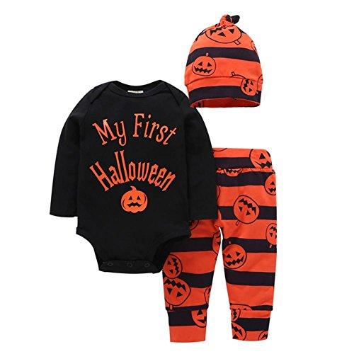 ESHOO Baby Jungen Mädchen Halloween Kleidung Kürbis Spielanzug + Hüte + Hosen Outfits (Monate Kostüme Mädchen 3 Halloween Baby 0)