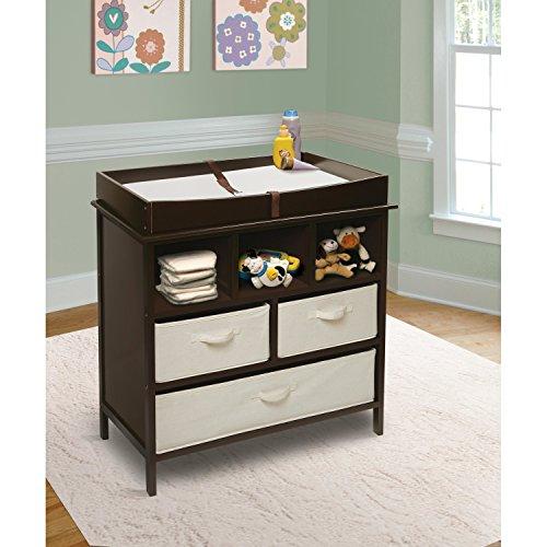 perezoso Kids–Cómoda para la habitación cambiador Color Marrón Oscuro de color blanco con elementos de tela