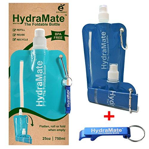 Faltbare, Wasserflasche. BPA-frei, 750ml. HydraMate Leichte, umweltfreundliche, nachfüllbare Flasche mit Sportverschluss und hygienischem Deckel. Mit Karabiner und Flaschenöffner!