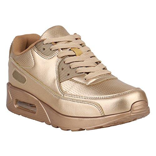 Stiefelparadies Unisex Sportschuhe Damen Herren Sneaker Laufschuhe Neon Camouflage Metallic Schuhe Glitzer Leder-Optik Übergrößen Flandell Gold Camiri