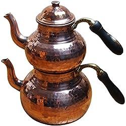 4 tlg. Großes Traditionelles Erzincan Kupfer Teekannen Set mit Echtholzgriffen - Bakir caydanlik seti Erzincan isi