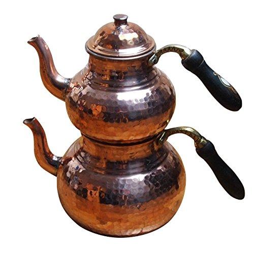 4 tlg. Großes Traditionelles Erzincan Kupfer Teekannen Set mit Echtholzgriffen - Bakir caydanlik seti Erzincan isi Isi-set